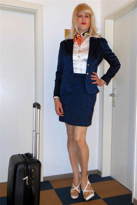 crossdress business lady tgirl stewardess getting ready for my first day as a