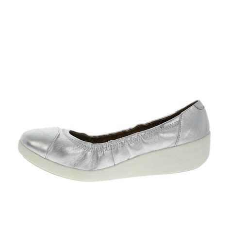 ballerina sneakers ff2 by fitflop f pop silver leather ballerina shoes