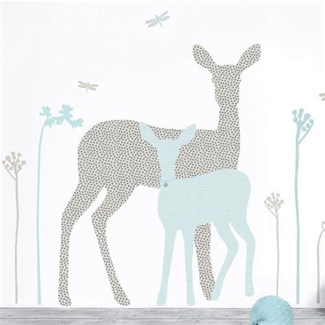 Wall Stickers For Nursery Rooms deer and fawn fabric nursery wall stickers koko kids