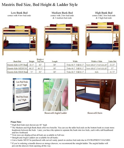 average bed height compare low loft and mid loft heights