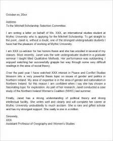 Scholarship Letter Of Recommendation Sle Sle Letter Of Recommendation For Scholarship 10 Free Documents In Word
