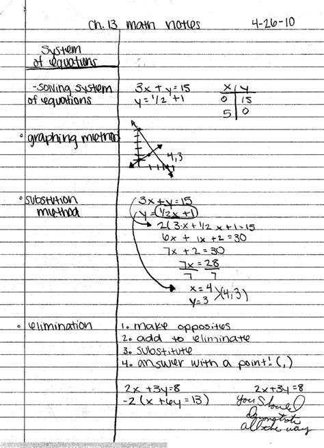 note making styles skills hub cornell note taking exles math back to school pinterest