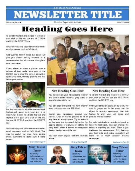 pages newsletter templates free newsletter templates templates and church on