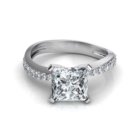 tapered pave princess cut engagement ring - Pave Engagement Rings