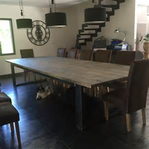 meuble industriel table de salle a bois et acier