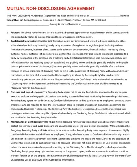 non disclosure agreement form 9 free word pdf