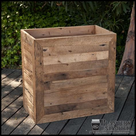 Reclaimed Wood Planter Box by Rectangular Planter Boxes Reclaimed Oak Wood Planters