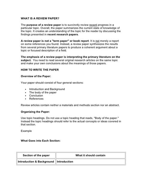 how to write a review paper components of a review paper
