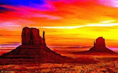 Boat Decor For Home by Sunrise Monument Valley Mittens Painting By Bob And Nadine