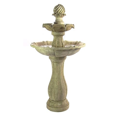 Water Fountains With Lights Water Solar Powered 2 Levels Tiered Outdoor