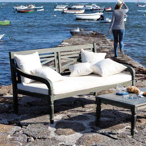 divanetto da giardino divanetto grigio da giardino in acacia 3 posti chypre