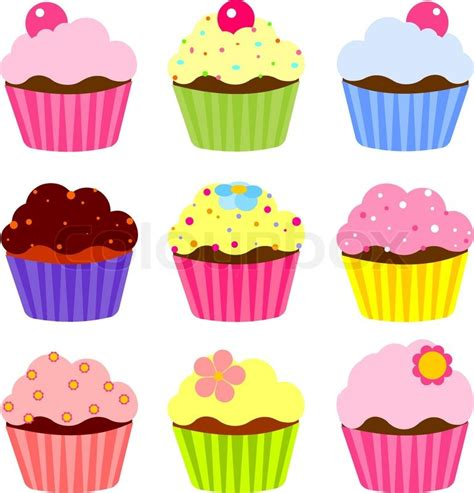 How To Decorate A New Home Illustration Of Various Cute Cupcakes Stock Vector