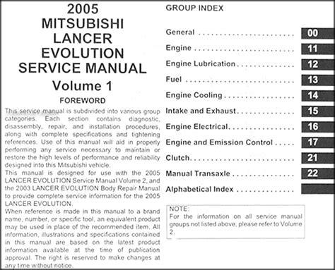 vehicle repair manual 2005 mitsubishi lancer evolution security system 2005 mitsubishi lancer evolution repair shop manual original 2 vol set