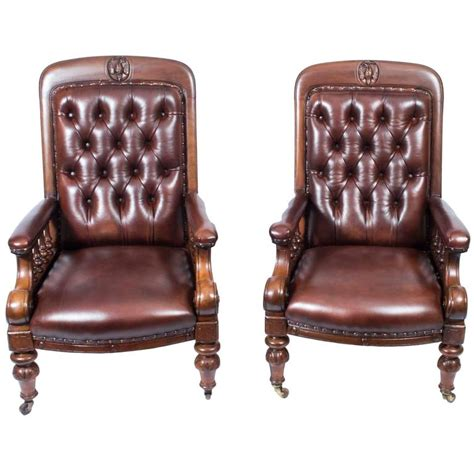 Antique Leather Armchairs For Sale antique pair of leather armchairs circa