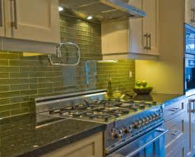 Green Glass Tiles For Kitchen Backsplashes Green Glass Subway Tile