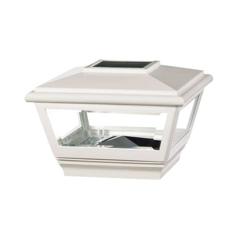 veranda 4 in x 4 in vinyl solar light white pyramid post