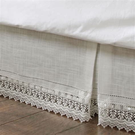 ivory bed skirt sophia ivory macrame kick pleat bedskirts