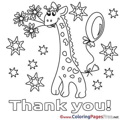 free coloring pages thank you giraffe stars thank you free coloring pages