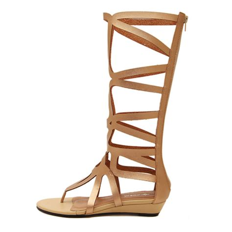 cheap gold gladiator sandals fashion clip toe hollow out flat low heel gold pu
