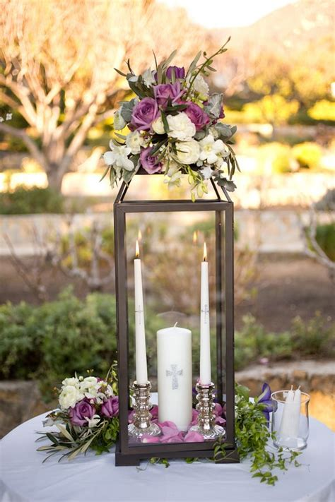 outdoor wedding unity ideas unity candles in glass lantern glasses circle of