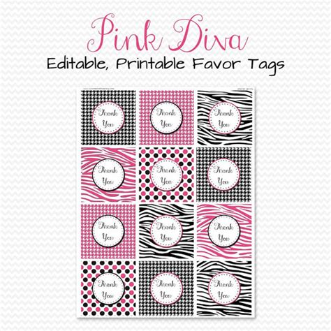 free printable bridal shower labels pink diva party favor tags treat bag by printcreatecelebrate