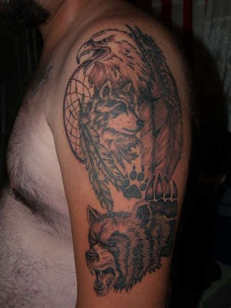 Bear Tattoo Images Designs Eagle And Wolf Tattoos