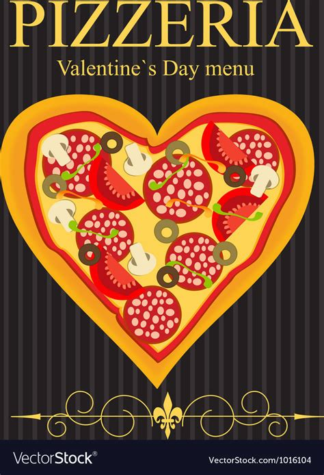Pizza Valentines Card Template by Pizza Menu Template On Valentines Day Royalty Free Vector
