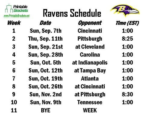 printable ravens schedule 2015 ravens schedule baltimore ravens schedule