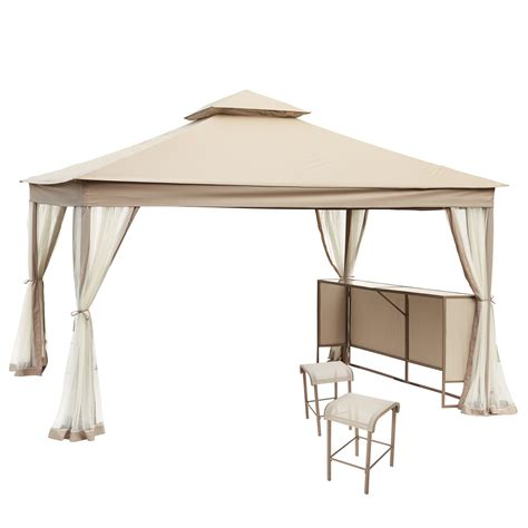Gazebo With Bar Table Garden Oasis Ss I 138 1gza 3 Laurel Park 12 Ft X 10 Ft Gazebo With Net Bar Table And 2