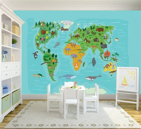 Childrens Wall Mural mural weltkarte f 252 r kinder walldesign56 wandtattoos
