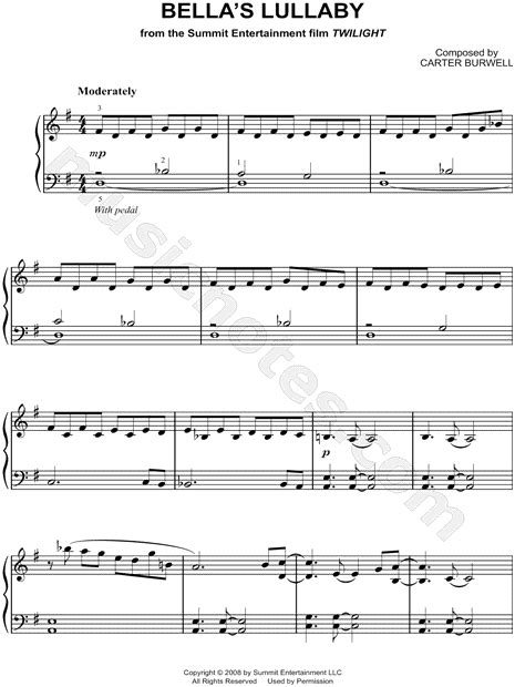 theme song eclipse twilight quot bella s lullaby quot from twilight movie sheet music