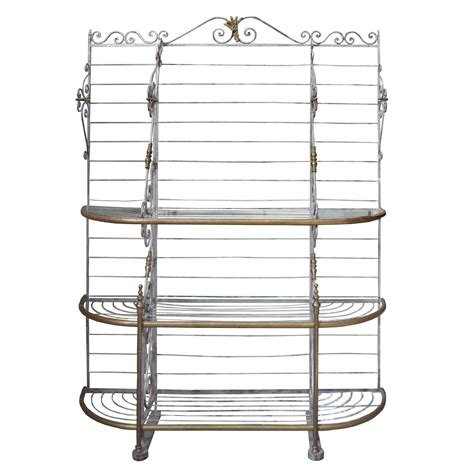 Glass Bakers Rack Wrought Iron Baker S Rack With Glass Shelves At 1stdibs