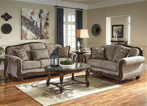 Living Room Furniture With Wood Trim Camille Traditional Wood Trim Brown Fabric Sofa Set