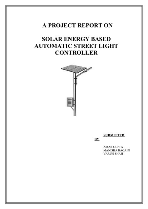 solar powered automatic light controller report