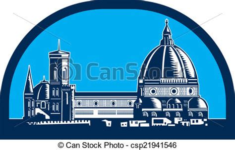 Florida Style Home Plans by Eps Vector Of Dome Of Florence Cathedral Retro Woodcut
