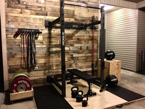 shiplap wall matte black rogue equipment home gym