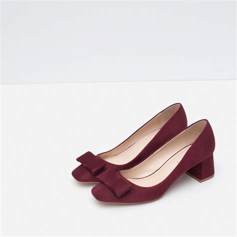 Bow Shoes zara medium heel shoes with bow in purple lyst