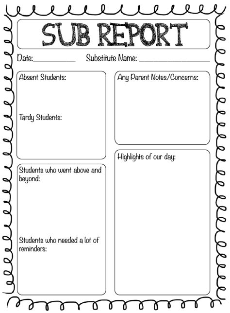 substitute report template best free home