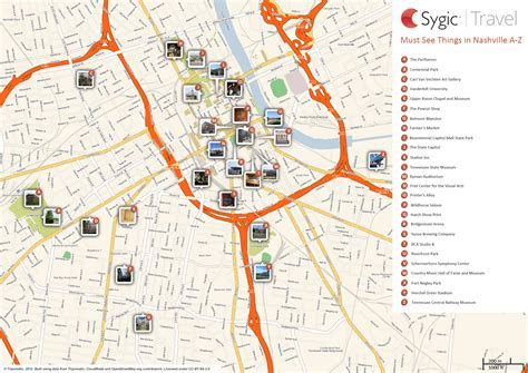 map of and attractions map of nashville attractions sygic travel