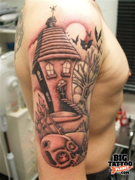 house of tattoo right half sleeve haunted house tattoo for men