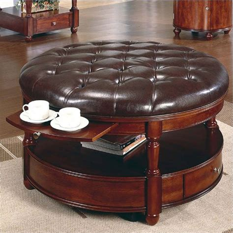 round leather storage ottoman coffee table large round storage ottoman coffee table designer tables