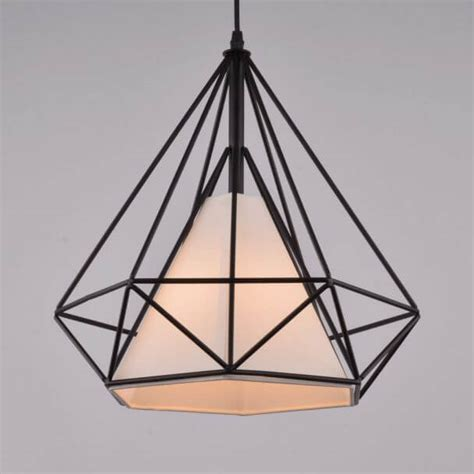 black cage pendant light industrial pendant light black cage white fabric shade