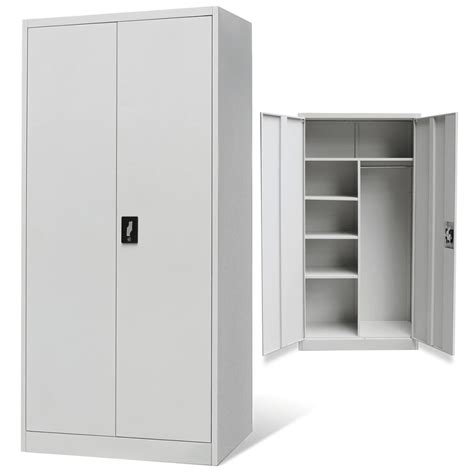 metal cabinet with doors vidaxl co uk metal locker style cabinet 2 doors grey