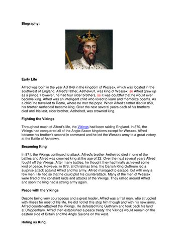 viking biography ks2 alfred the great biography by helenriley83 teaching