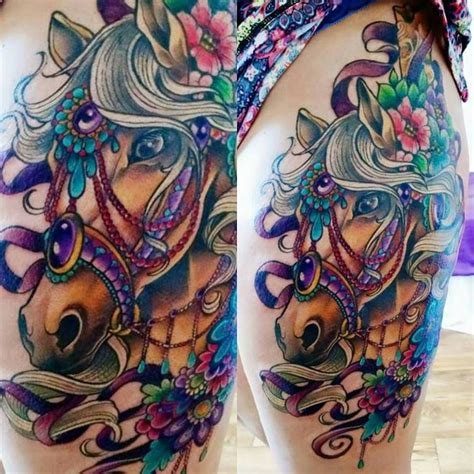 baltimore street tattoo s carousel thigh by tiff baltimore