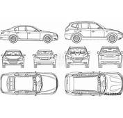 Car Sedan And Suv Line Draw Four All View Top Side Back