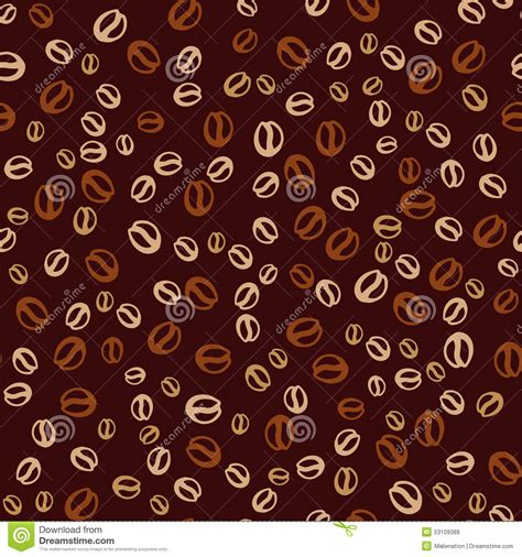 Coffee Print vector background with coffee beans coffee print stock