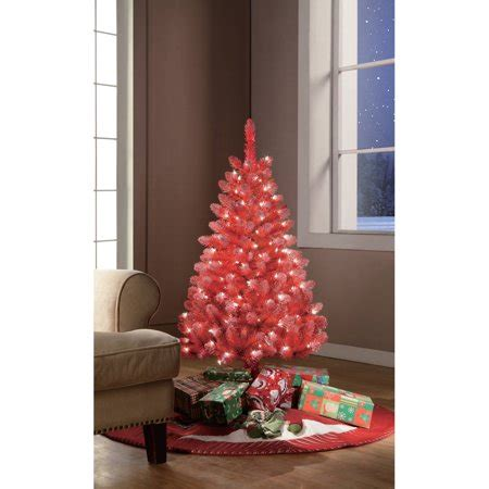 red pop christmas tinsel tree upc 804606590602 time pre lit 4 tinsel artificial tree clear lights