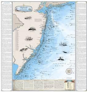 laminated new jersey shipwreck chart print map ebay