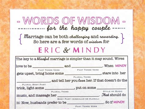 funny wedding mad lib guestbook words of wisdom